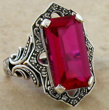.925 Sterling Silver Ring Size 8, #466 6.5 Ct. Lab Ruby Antique Victorian Design