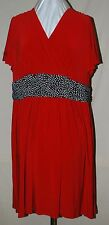 NINA LEONARD CROSSOVER SLINKY KNIT DRESS WITHWIDE WAIST FLUTTER SLEEVES RED 2X