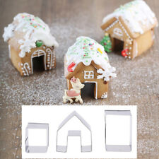 Mini Gingerbread House Cookie Cutter Set 3 Pieces Stainless Steel Biscuit Mo 2Y