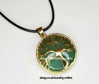 Tree of Life Green Aventurine Necklace Pendant Yoga Chakra Reiki Amazonite UK