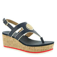Tommy Hilfiger Gelia Navy White Havana Platform Flatform Sandals