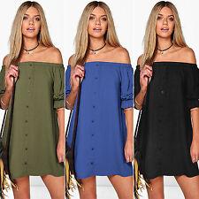 WOMEN LADIES OFF THE SHOULDER BARDOT BUTTON EVENING SHIRT DRESSES TOPS S M L XL