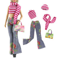 5Pcs/set Princess Dolls clothes suits toys dolls red stripes and jeans fi