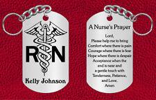Personalized NURSE Steel Keychain with Nurse's Prayer, Engraved Gift RN LPN
