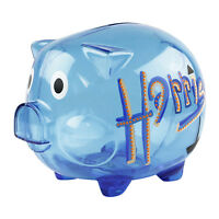 Kids Gift Personalised Clear Piggy Bank Money Box Coins Children Saving Any Name