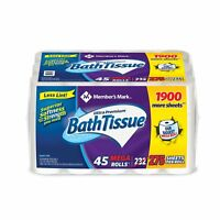 Members Mark Toilet Paper 45 Rolls Club Pack 2 Ply 275 Sheets Roll Bath Tissue