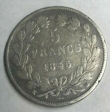 1845 BB France 5 Francs - Big Silver - Cleaned