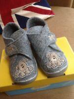 Befado Kids Grey Soft Felt Slipper, Cute Puppy Applique ,Non-Slip, , size 22/ 5