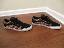Used Worn Size 13 Vans Old Skool Skateboard Shoes Black, White, Leopard Print
