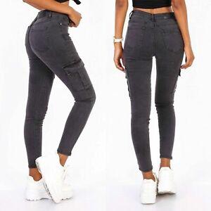 Women's Soft stretch Denim Cargo Trousers skinny Jeans Dark Grey UK 6-14