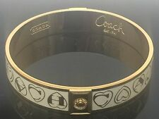 coach Designer gold plated white enamel multi hearts bangle bracelet NEW