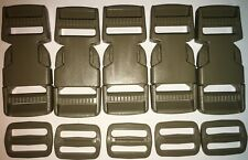 USGI ITW NEXUS BUCKLE FASTEX #SR1 DOUBLE ADJUST & TRIGLIDE TAN LOT OF FIVE NEW