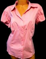 Worthington pink short sleeve women's plus size button down ruched top 16