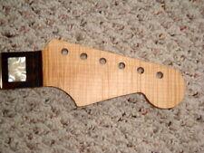 RARE Strat Neck Musikraft 5A Quartersawn Flame w/Striped Ebony Board Block Inlay