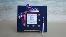Custom Military Funeral Guest Book- American flag veteran memorial service sign