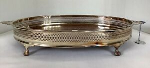 EALES Italian Reticulated Silverplated Border/Rim Formica Oval Serving Tray