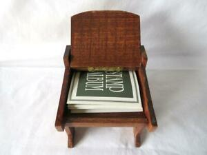 Vintage Dollhouse Solid Dark Wood Secretary Desk Hinged Top Stamp Album 1:10