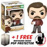 FUNKO POP PARKS AND RECREATION RON SWANSON #499 VINYL FIGURE + POP PROTECTOR