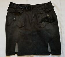 Ladies size 12 Black Denim Skirt with Bling - Muchacha