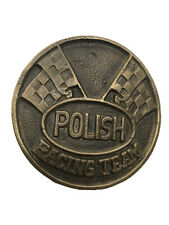 Vintage Polish Racing Team Belt Buckle Solid Brass Collectible Nice Patina