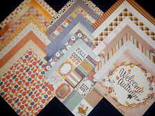 12X12 Scrapbook Paper Cardstock Pumpkin Spice Fall Autumn Harvest Leaves 24 Lot