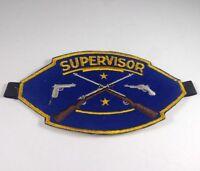 "Range Supervisor 7""x4"" Blue Yellow Felt Firearms Patch Arm Band Vintage NRA"