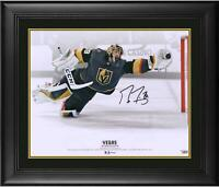 """Marc-Andre Fleury Vegas Golden Knights Frmd Signed 16"""" x 20"""" Diving Save Photo"""