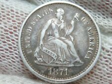 1871 S Seated Liberty Silver Half Dime TONED FULL LIBERTY