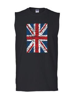 Union Jack Muscle Shirt United Kingdom Distressed British Flag