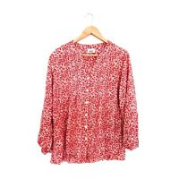 Womens Plus Size 18 Red Paisley Floral Print Long Sleeve Button Boho Top Blouse