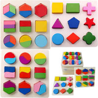 Kid Baby Wooden Geometry Block Puzzle Montessori Graph Early Educational Toys
