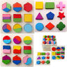 Kid Baby Wooden Geometry Block Puzzle Montessori Graph Early Educational Toys yi