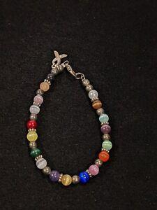 "Artisan Silver Tone Rainbow Glass. Was Faux Pearl Ribbon Charm Bracelet 7.5""..."