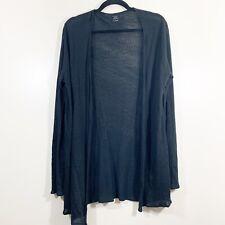 Majestic Paris Size 4 L Womens Solid Black Open Front 100% Linen Cardigan