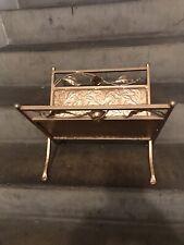 Antique Vintage Ornate Gold Metal Folding Magazine Rack