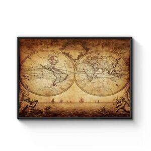 1733 Vintage World Map Old Exploration Rare Art Poster Print Framed -Choose Size