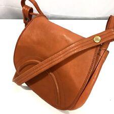 Vtg 60-70's Orange Rust Leather HIPPIE BoHo MoD Hand Bag Saddle MoD FLAP Purse