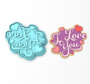I Love You Cookie Cutter & Stamp | Valentines Day Wedding Bridal Anniversary #4