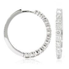 14k White Gold Diamond Huggies, 2.18tdw (NEW hoop earrings design, 23mm) 4456