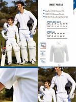 Unisex Adults Long Sleeve Cricket  Breezeway White Polo with Side Mesh Panels