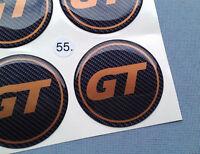 4x GT carbon Embleme für Nabenkappen Felgendeckel 55mm Silikon Aufkleber GT55CO