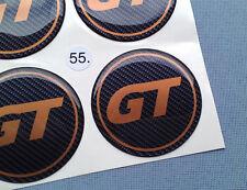 (GT55CO) 4x GT Embleme für Nabenkappen Felgendeckel 55mm Silikon Aufkleber