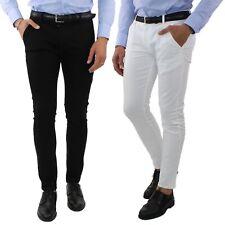 Jeans Uomo Elasticizzato Bianco Nero Slim Fit Tasca America Pantaloni Casual