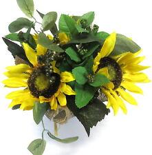12 Inch Yellow Sunflower Silk Flower and Greenery Burlap Arrangement Centerpiece