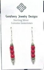 Sweet Sterling Silver Genuine Red CORAL Gemstone Dangle Earrings...Handmade USA