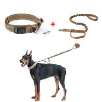 Tactical Military Adjustable Nylon Heavy Duty Dog Collar Metal Buckle Leash Set