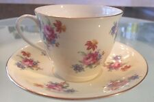Aynsley Bone China England- Teacup & Saucer Swirling Bouquets