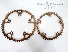 Shimano Biopace 52t + 42t super rar en Bronze vélo de course chaînes feuilles 1986 lk130