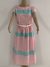 Jonathan Summers Of Sydney Vintage 1980s Dress Size 12. Pink & Green