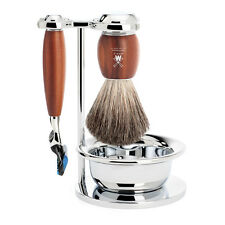 Muhle VIVO Plum Wood Set - Stand, Bowl, Gillette Fusion Razor, Shaving Brush